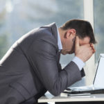 Worried business person concerned about failing