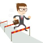 Businessperson jumping over obstacles for MORE business success
